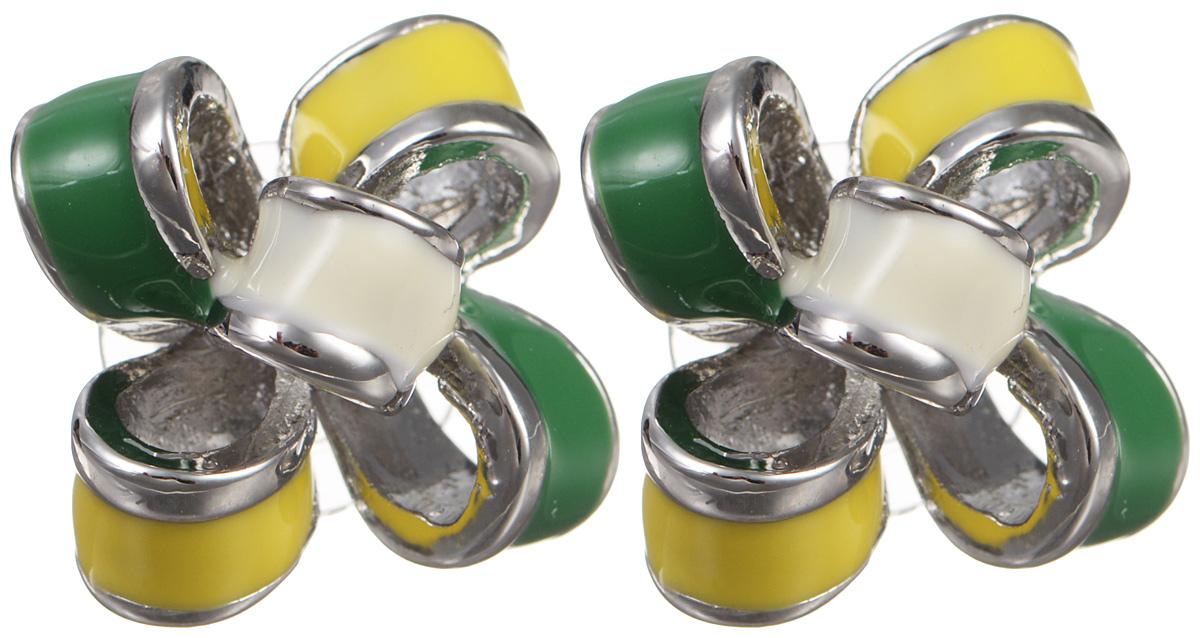 Серьги Fashion House, цвет: белый, желтый, зеленый. FH29160Серьги с подвескамиСерьги Fashion House выполнены из металла в форме изящных бантиков и покрыты разноцветной эмалью. Изделие оснащено удобным замком-гвоздиком. Серьги имеют мягкий глянцевый блеск, который будет благородно смотреться на любой моднице. Украшение настроит хозяйку на позитивный лад и будет гармонировать как с повседневным, так и с торжественным образом.