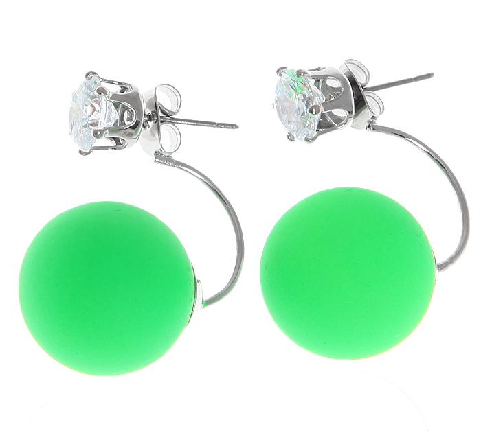 Серьги-шары Офелия. Бусины зеленого цвета, прозрачные кристаллы, бижутерный сплав серебряного тона. Arrina, ГонконгПуссеты (гвоздики)Двухсторонние серьги-шары Офелия.Бусины зеленого цвета,прозрачные кристаллы, бижутерный сплав серебряного тона.Arrina, Гонконг.Размер - 2,5 х 1,5 см.Серьги-шары - самый модный тренд в этом сезоне!