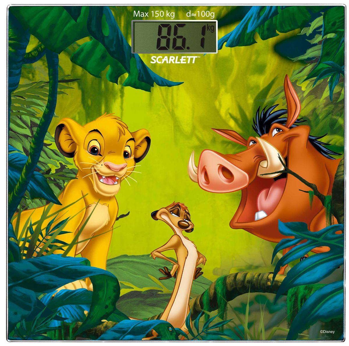 Scarlett SC-BSD33E893 напольные весыSC-BSD33E893Электронные напольные весы Scarlett SC-BSD33E893 - это высокоточный прибор, который быстро и эффективно измерит вес пользователя. При этом устройство получило яркий корпус с рисунком Disney, который легко впишется в интерьер детской комнаты. Весы обладают высокой точностью измерения веса. Имеют устойчивую и особо прочную стеклянную платформу