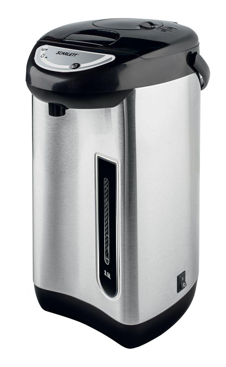 Scarlett SC-ET10D01, Silver термопотSC-ET10D01Термопот Scarlett SC-ET10D01 с легкостью кипятит воду, как чайник, и сохраняет ее горячей долгое время, как термос. Он выполнен из высококачественных материалов с высокими термоизоляционными свойствами.Вода разливается при помощи пневматической помпы, которая выдает за одно нажатие до 150 мл. Scarlett SC-ET10D01 оснащен удобной ручкой для переноски, благодаря которой вы можете использовать устройство как термос при поездке на пикник.