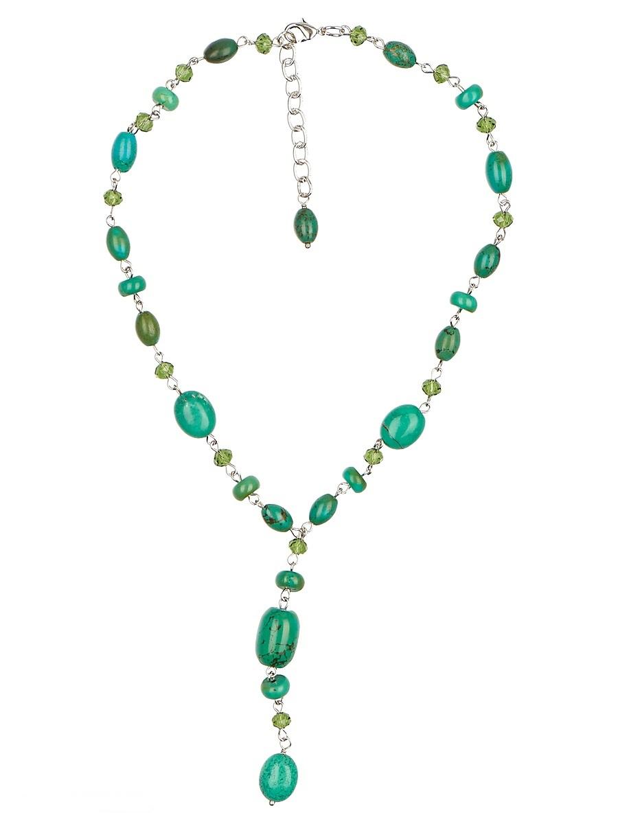Ожерелье Polina Selezneva, цвет: зеленый. 001-1708Бусы-ниткаКолье выполнено из бирюзы, кристаллов и сплава.