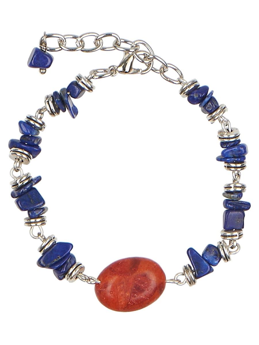 Браслет Polina Selezneva, цвет: синий, коричневый. 002-2947Глидерный браслетЭлегантный браслет Polina Selezneva изготовлен из металлического сплава и натуральных камней. Браслет выполнен из лазурита, чередующегося с фурнитурой из серебристого сплава. Крупная бусина коралла, расположенная в центре, придает браслету особую уникальность.Изделие застегивается на замок-карабин, который надежно зафиксирует браслет на запястье. Длина регулируется.Стильный браслет Polina Selezneva поможет дополнить любой образ и привнести в него завершающий яркий штрих.