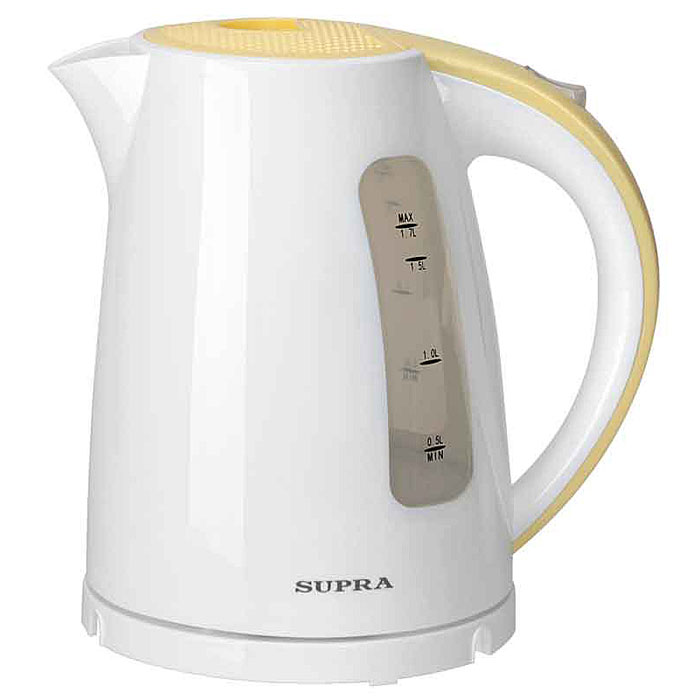 Supra KES-1726, White Yellow электрический чайникKES-1726 white/yellowЧайник Supra KES-1726 мощностью 2200 Вт и объемом 1,7 л позволит легко и быстро вскипятить воду для любимых горячих напитков. Компактная модель совмещает в себе все важные функции, которые позволят комфортно пользоваться чайником. Устройство автоматически отключается, когда вода в нем закипает и не включается, если воды в чайнике недостаточно. Более того, во время работы чайника горит соответствующий индикатор, а при помощи специальной шкалы на корпусе устройства вы всегда будете знать, хватит ли воды для чая. Удобство использования чайника дополняется стильным дизайном. Именно поэтому данная модель прекрасно смотрится в любом кухонном интерьере.