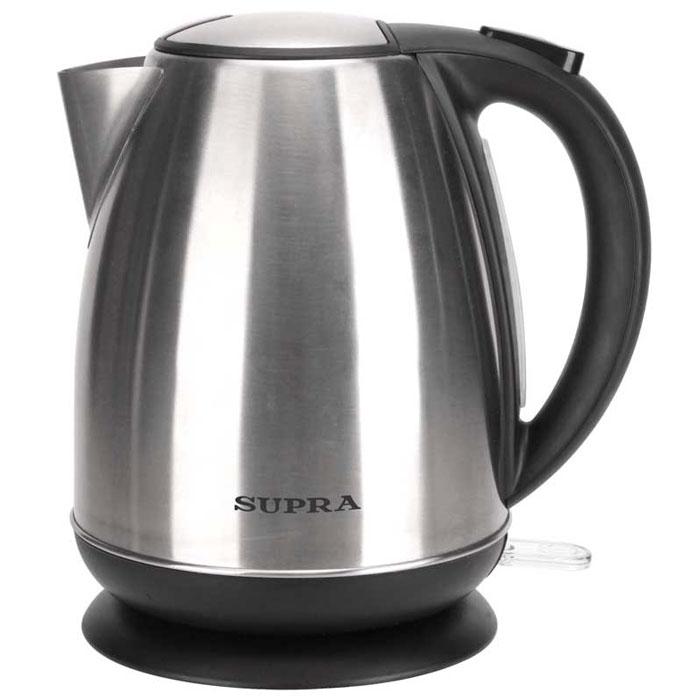 Supra KES-1733N электрический чайникKES-1733NЧайник Supra KES-1733N мощностью 2200 Вт и объемом 1,7 л в стильном корпусе из высококачественной нержавеющей стали позволит легко и быстро вскипятить воду для любимых горячих напитков. Компактная модель совмещает в себе все важные функции, которые позволят комфортно пользоваться чайником. Устройство автоматически отключается, когда вода в нем закипает и не включается, если воды в чайнике недостаточно. Более того, во время работы чайника горит соответствующий индикатор. Удобство использования чайника дополняется стильным дизайном. Именно поэтому данная модель прекрасно смотрится в любом кухонном интерьере.