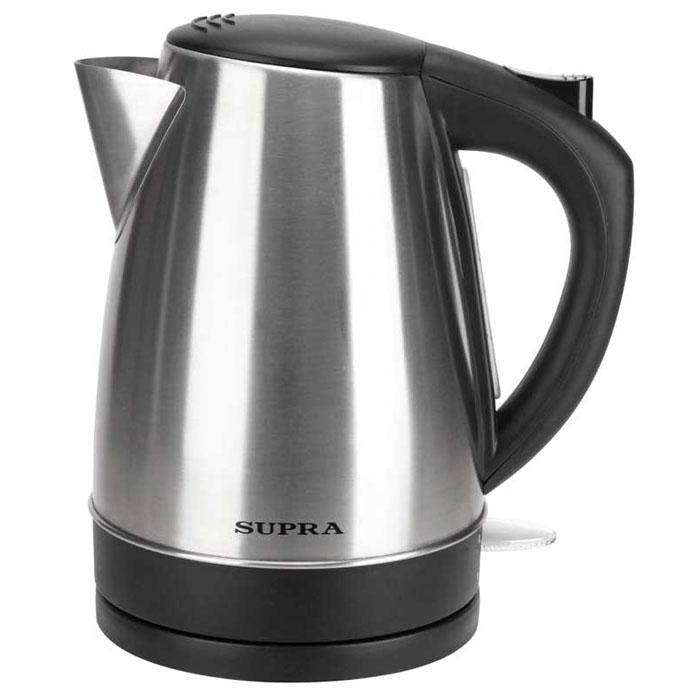 Supra KES-1735N электрический чайникKES-1735NЧайник Supra KES-1735N мощностью 2200 Вт и объемом 1,7 л в стильном корпусе из высококачественной нержавеющей стали позволит легко и быстро вскипятить воду для любимых горячих напитков. Компактная модель совмещает в себе все важные функции, которые позволят комфортно пользоваться чайником. Устройство автоматически отключается, когда вода в нем закипает и не включается, если воды в чайнике недостаточно. Более того, во время работы чайника горит соответствующий индикатор. Удобство использования чайника дополняется стильным дизайном. Именно поэтому данная модель прекрасно смотрится в любом кухонном интерьере.