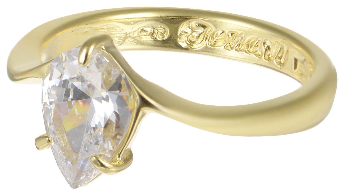 Кольцо Jenavi, Циркония. Чиос, цвет: золотой, белый. r665p0a0. Размер 18Коктейльное кольцоЭлегантное кольцо от Jenavi Циркония. Чиос изготовлено из качественного металла с золотым покрытием. Декоративный элемент кольца выполнен в виде переливающегося прозрачного кристалла, изготовленного из фианита. Внутренняя сторона изделия оформлена тисненой надписью с названием бренда. Такое стильное кольцо идеально дополнит ваш образ и подчеркнет вашу женственность.
