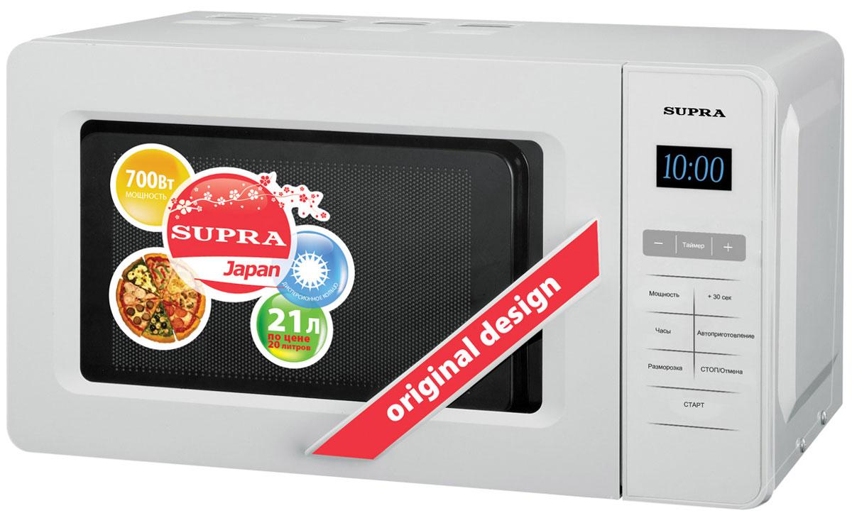 Supra MWS-2105SW СВЧ-печьMWS-2105SWМикроволновая печь Supra MWS-2105SW предназначена для быстрого приготовления или быстрого подогрева пищи, а также для размораживания продуктов. Supra MWS-2105SW с пятью режимами мощности проста в использовании, оснащена восемью автоматическими программами, режимом разогрева блюд одним касанием, режимом разморозки и звуковым сигналом об окончании приготовления. Управление сенсорное. Компактная микроволновая печь со стильным дизайном отличается высоким качеством сборки, прочностью и надежностью, станет неизменным атрибутом на вашей кухни.