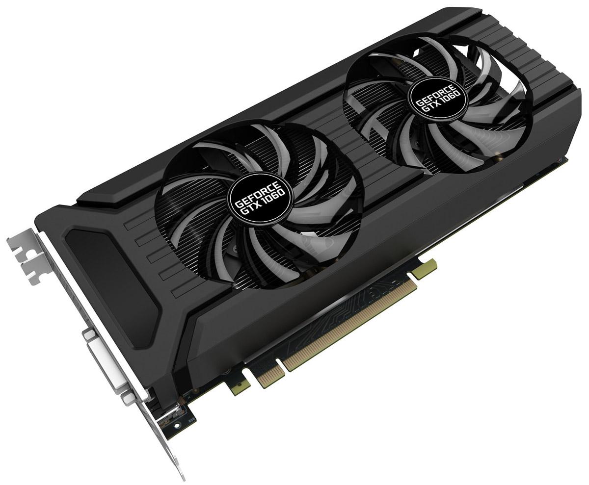 Palit GeForce GTX 1060 Dual 6GB видеокартаNE51060015J9-1061DВ картах GeForce GTX 1060 Dual с двумя вентиляторами применяются инновационные игровые технологии. Благодаря этому они отлично подходят для современных игр в высоком разрешении. Архитектура NVIDIA Pascal в основе графического процессора GeForce GTX 1060 считается самой мощной в мире. Производительности карт линейки хватит для работы с самыми требовательными VR-играми и приложениями.Конструкция крепёжной панели с ячейками в виде сот увеличивает отводимый от графического процессора воздушный поток на 15%, что улучшает общую эффективность системы охлаждения.Конструкция с двумя вентиляторами удваивает производительность системы охлаждения, а пара умных вентиляторов диаметром 90 мм эффективно отводит тепло от горячих точек видеокарты.Благодаря наличию разъемов DisplayPort и HDMI, видеокарты серии Palit позволяют подключать сразу два монитора с разрешением 4K и наслаждаться просто невероятным качеством изображения.DrMOS, ранее доступная только на высокоуровневых серверных платформах, теперь используется и в новом поколении видеокарт Palit. DrMOS обеспечивает низкую шумность и эффективное снижение тепловыделения в тяжело нагруженных цепях питания.Утилита Palit ThunderMaster для Windows дает возможность увеличить быстродействие видеокарты и следить за режимом ее работы, что возможно только с вашим новым графическим акселератором.