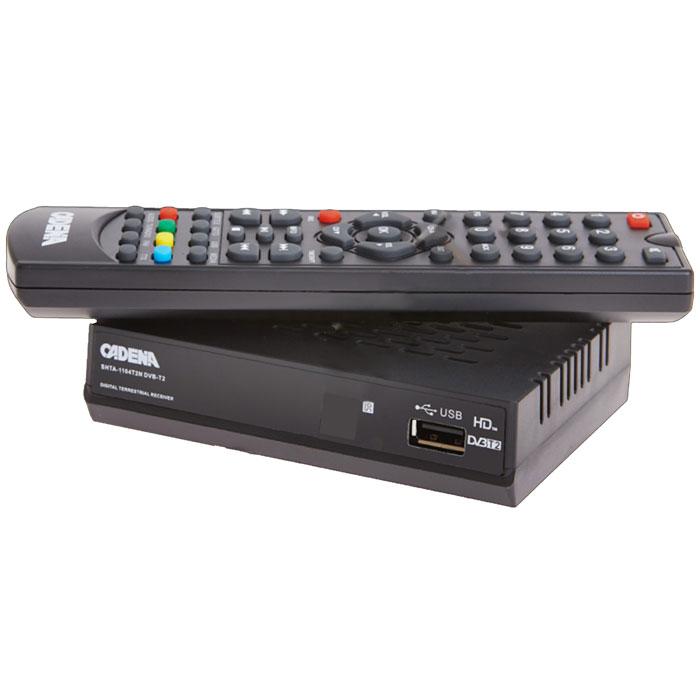 Cadena 1104T2N DVB-T2 ТВ-тюнерCADENA 1104T2NПриемник Cadena 1104T2N DVB-T2 предназначен для просмотра бесплатного цифрового эфирного телевидения высокого качества. Высокочувствительный тюнер обеспечивает стабильное качество принимаемого сигнала. При подключении внешнего USB устройства можно записывать транслируемые телевизионные каналы, а так же воспроизводить мультимедийные файлы и изображения на телевизор. Приемник имеет HDMI выход, при помощи которого можно выводить на телевизор изображение в формате высокой четкости HD 1080p, также выполнить подключение к телевизору можно и при помощи аналогового RCA выхода. Поддержка субтитров, телетекста, электронной программы передач (EPG).Формат видео: DivX, MKV, MOV, MP4Формат аудио: MP3Поддержка графических форматов: JPG