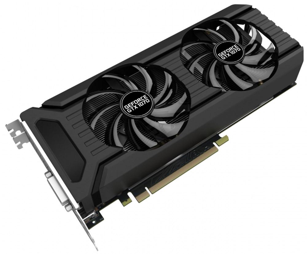 Palit GeForce GTX 1070 Dual 8GB видеокартаNE51070015P2-1043DВ Palit GeForce GTX 1070 Dual установлена сдвоенная двухслотовая система охлаждения, которая отлично подойдёт пользователям ПК с видеокартами, работающими в режиме SLI. С этой картой любые современные игры будут плавными даже в максимальном разрешении. Кроме того, в GeForce GTX 1070 установлен графический процессор на базе самой современной и мощной в мире архитектуры — NVIDIA Pascal. Это совершенная игровая платформа.Конструкция крепёжной панели с ячейками в виде сот увеличивает отводимый от графического процессора воздушный поток на 15%, что улучшает общую эффективность системы охлаждения.Конструкция с двумя вентиляторами удваивает производительность системы охлаждения, а пара умных вентиляторов диаметром 90 мм эффективно отводит тепло от горячих точек видеокарты. Наслаждайтесь тишиной во время работы или просмотра видео. Вентиляторы видеокарты включаются только при увеличении нагрузки, например, в играх, если температура графического процессора карты превышает 50 градусов.Благодаря наличию разъемов DisplayPort и HDMI, видеокарты серии Palit позволяют подключать сразу два монитора с разрешением 4K и наслаждаться просто невероятным качеством изображения.DrMOS, ранее доступная только на высокоуровневых серверных платформах, теперь используется и в новом поколении видеокарт Palit. DrMOS обеспечивает низкую шумность и эффективное снижение тепловыделения в тяжело нагруженных цепях питания.