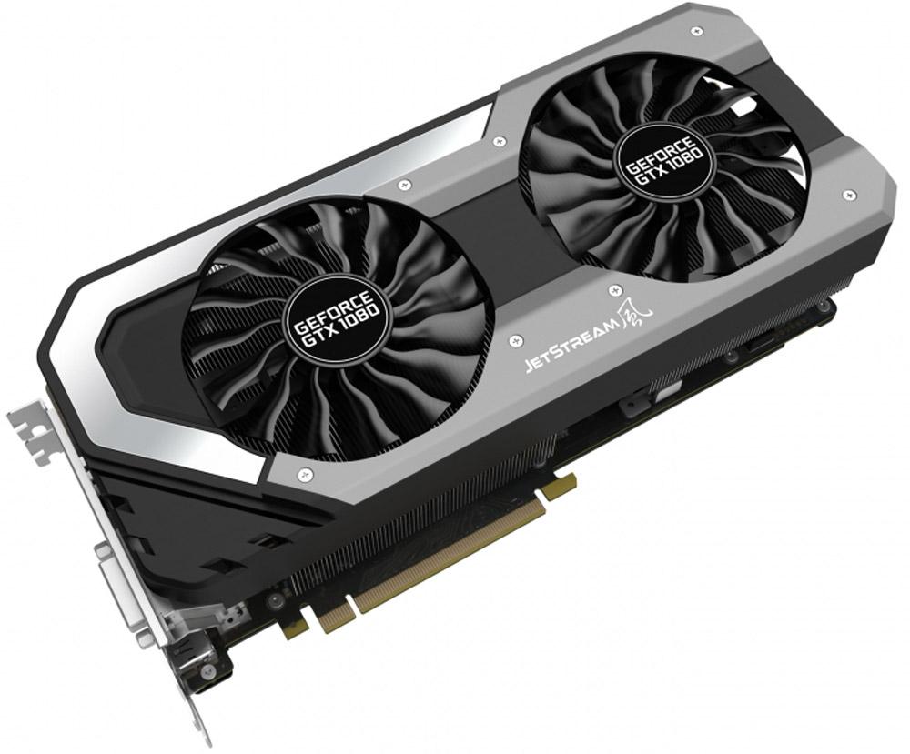Palit GeForce GTX 1080 JetStream 8GB видеокартаNEB1080015P2-1040JРеволюционная видеокарта Palit Jetstream отличается улучшенным охлаждением и оптимизированным дизайном для незабываемых впечатлений от игры. Palit GeForce GTX 1080 JetStream – новейшее и последнее на сегодняшний день поколение видеокарт, построенных на архитектуре NVIDIA Pascal. Этот графический адаптер гарантирует высочайшую производительность и ни с чем несравнимые впечатления от игры.Видеокарта оснащена RGB-подсветкой. Ее цвет может изменяться в зависимости от температуры видеокарты, что позволяет определить температуру и нагрузку по внешнему виду. Поддержка 16.8 миллионов цветов предоставляет возможность индивидуальной настройки каждому пользователю в соответствии с личными предпочтениями.В новых кулерах JetStream площадь радиатора увеличилась на 15%. Широкая медная основа соприкасается с графическим процессором и тепловыми трубками, обеспечивая лучшую производительность.Наслаждайтесь тишиной во время работы или просмотра видео. Вентиляторы видеокарты включаются только при увеличении нагрузки, например, в играх, если температура графического процессора карты превышает 50 градусов.Конструкция с двумя вентиляторами удваивает производительность системы охлаждения, а пара умных вентиляторов диаметром 100 мм эффективно отводит тепло от горячих точек видеокарты. Основанные на технологиях реактивных двигателей, вентиляторы TurboFan Blade увеличивают мощность кулера, генерируя мощный воздушный поток и высокое давление.Уникальный дизайн системы питания с 8 фазами снижает максимальную нагрузку на каждую фазу, стабилизируя напряжение и улучшая разгонный потенциал. Благодаря ему на видеокарту можно подать на 30% больше тока.Благодаря наличию разъемов DisplayPort и HDMI, видеокарты серии Palit позволяют подключать сразу два монитора с разрешением 4K и наслаждаться просто невероятным качеством изображения.Два вентилятора Smart Fan диаметром 100 мм имеют противоположные направления вращения для снижения взаимного