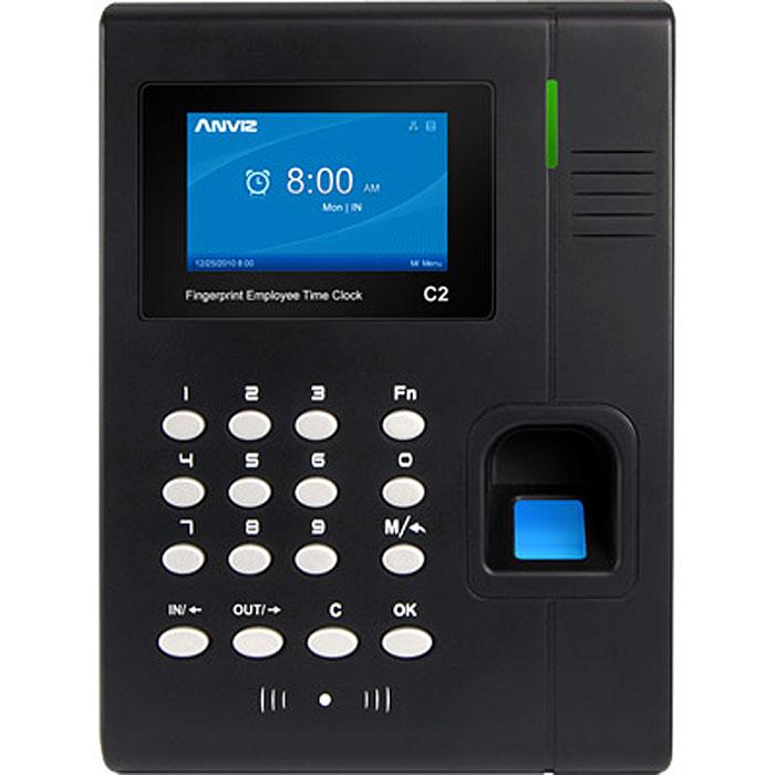 IVUE Anviz C2 cетевой биометрический терминалC2IVUE Anviz C2 - это тонкий, изысканный и современный дизайн с быстрым распознаванием и стабильной работой сканера отпечатков пальцев нового поколения. Герметичный, водо- и пыленепроницаемый корпус. Отпечаток пальца сканируется менее чем за 0,5 секунды. Широкоформатный TFT дисплей высокого разрешения с удобным графическим интерфейсом на русском языке. Голосовые подсказки на русском языке. Встроенные интерфейсы USB Plug & Play, а так же разъём Ethernet для сетевого кабеля, поддержка протоколов TCP / IP, DHCP и DNS. Авторизация сотрудников может проходить по ID, E-Marine, Mifare и HID.Способы подключения: USB Device, USB Host, TCP/IPСчитыватель карт: Optional 125KHZ EM RFID, 13.56MHZ Mifare and 125KHZ HIDИмя на дисплееФото на дисплееОтпечаток пальца на дисплееСтатус: 16 программируемых статусов посещенияАвтоматические статусыРабочие коды: 6 - значныеКороткие сообщения: 50Алгоритм Bio-NANO V10Сканер: AFOS300, оптический сенсорОбласть сканирования: 22 х 18 ммРазрешение: 500 DPI