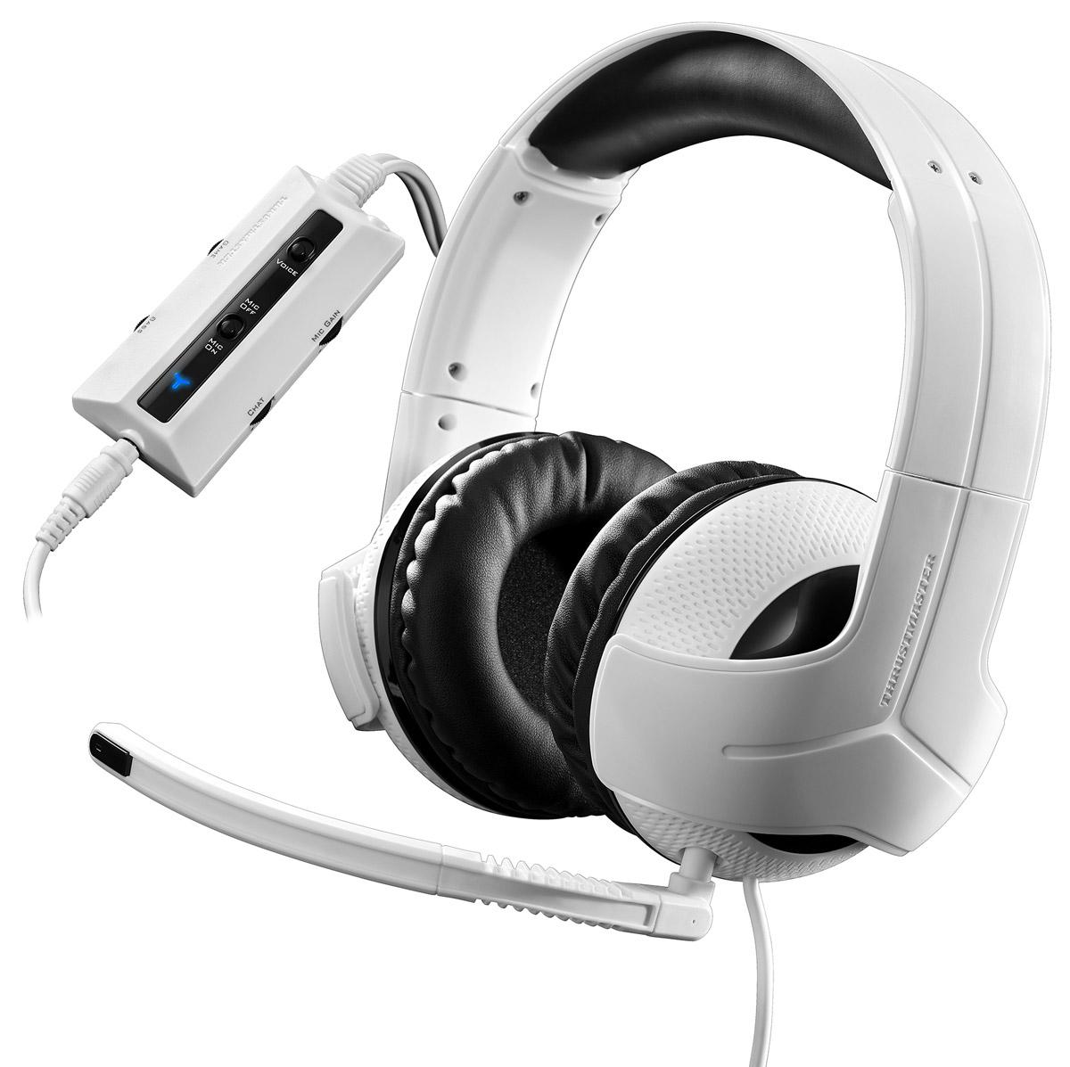 Thrustmaster Y300CPX игровая гарнитура для PS4 (4060077)THR45Универсальная гарнитура для полной совместимостиОптимизированная гарнитура с полной поддержкой PlayStation 4, PlayStation 3, Xbox One, ПК, Xbox 360 и Mac. Совместимость также с Nintendo Wii U / Nintendo 3DS /PlayStation Vita / планшетами / смартфонами (с поддержкой вызовов).АудиопревосходствоРеальные 50-мм динамические головки, обеспечивающие кристально чистый звук: все слышать — быстро реагировать! Восприятие звука реальнее, чем в реальной жизни благодаря устойчивой амплитудно-частотной характеристике с превосходным балансом басовых, средних и высоких частот, оптимизированной для игр. Эксклюзивный двойной электроакустический усилитель нижних частот — глубокое воспроизведение басов. Лучшие наработки Thrustmaster в сфере аудио — для нового уровня игровых показателей (при поддержке Hercules и 20-летнего опыта в области аудио).Создано для удобстваУникальный Y-образный дизайн с серебристым декором обеспечивает исключительный комфорт: большие, супермягкие ушные подушки и эффективная пассивная изоляция. Уникальный дизайн ушных чашек служит резонатором для усиления басов. 4-м кабель, который подойдет к игровой конфигурации любого типа.Высокопроизводительный микрофонОднонаправленный микрофон, рассчитанный на улавливание только голоса геймера — для максимально эффективной связи с партнерами по команде. Микрофон можно снять и отрегулировать под любой размер и форму головы геймера.Усовершенствованные органы управленияМультифункциональный контроллер на кабеле, позволяющий индивидуально регулировать уровень звука игры и голосов: громкость микрофона и чата регулируется по раздельности — в точном соответствии с потребностями каждой игры и каждого геймера. Исключительные возможности регулировки уровня усиления микрофона! Можно настроить усиление для своего голоса, чтобы вас идеально слышали. Система голосовой обратной связи (для включения и отключения звука своего голоса в наушниках) непосредственно на контроллере.Показат