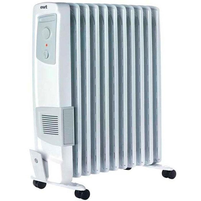 EWT OR 125TLG, White масляный радиаторOR 125TLGМасляный обогреватель EWT OR 125TLG мощностью 2500 Вт - прибор с классическим дизайном. Ничего лишнего, при этом всё продумано до мелочей.Данная модель имеет три ступени переключения обогрева. Примечательно, что данное устройство не сжигает кислород, поэтому оно безопасно для здоровья детей. Прибор оснащён удобной и понятной панелью управления, а также надёжными колёсиками и аккуратной ручкой для комфортного перемещения, что немаловажно для людей преклонного возраста. Наличие термостата гарантирует самостоятельную регулировку обогревателя во время работы (включение / выключение).EWT OR 125TLG оснащен функцией защиты от перегрева, отсеком для намотки шнура и абсолютно бесшумен во время функционирования.Подключаемый турбовентиляторКласс защиты IP 20Защита от замерзания