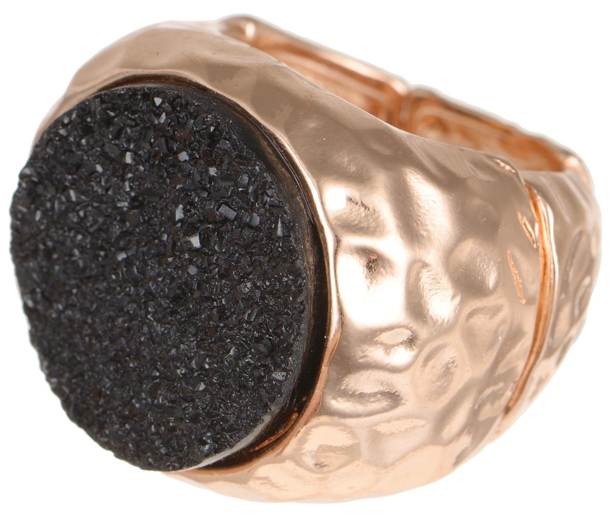 Кольцо Taya, цвет: золотистый, черный. T-B-8157Коктейльное кольцоСтильное кольцо Taya выполнено металлического сплава, оформлено оригинальной вставкой из стекла.Эластичная основа делает размер кольца универсальным.Оригинальное кольцо Taya превосходно дополнит ваш образ и подчеркнет отменное чувство стиля своей обладательницы.