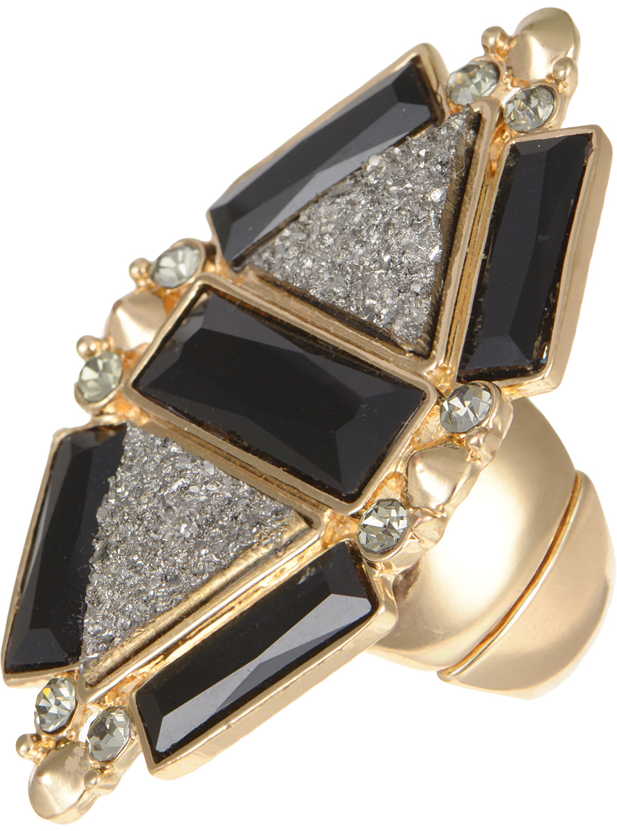 Кольцо Taya, цвет: золотистый, черный. T-B-8149Коктейльное кольцоСтильное кольцо Taya выполнено металлического сплава, оформлено декоративным элементом ромбовидной формы, который дополнен стразами и оригинальными вставками из стекла.Эластичная основа делает размер кольца универсальным.Оригинальное кольцо Taya превосходно дополнит ваш образ и подчеркнет отменное чувство стиля своей обладательницы.