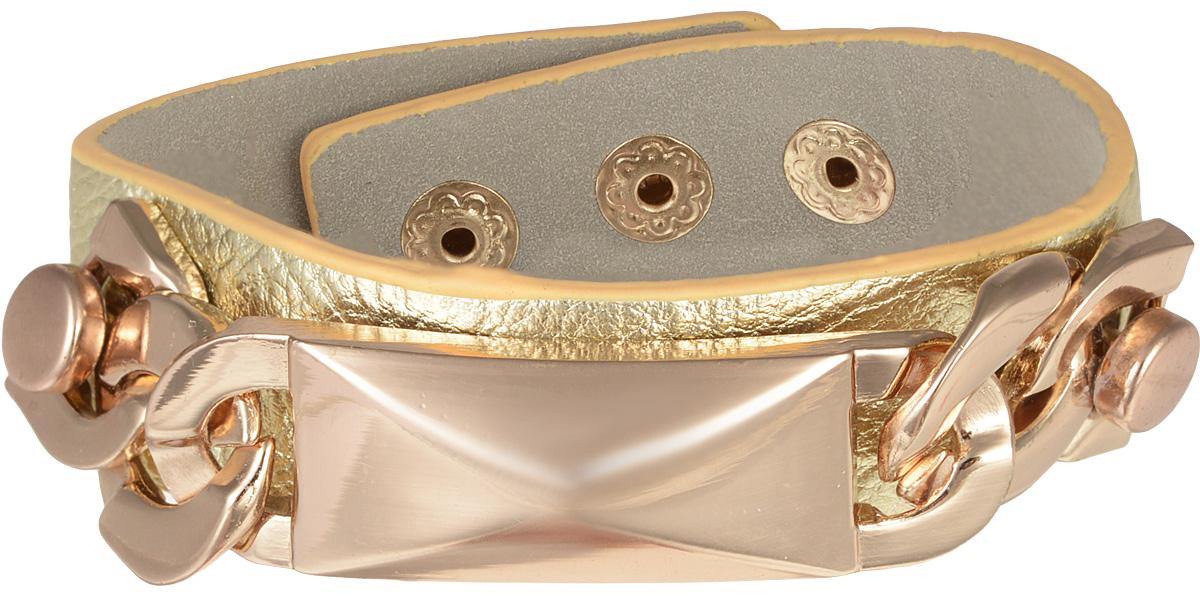 Браслет Taya, цвет: золотистый. T-B-7975Глидерный браслетСтильный браслет Taya выполнен из искусственной кожи. Модель оформлена оригинальным декоративным элементом из ювелирного сплава с покрытием под золото. Изделие застегивается на кнопки, с помощью которых можно регулировать объем. Такой оригинальный браслет не оставит равнодушной ни одну любительницу изысканных и необычных украшений, а также позволит с легкостью воплотить самую смелую фантазию и создать собственный, неповторимый образ.
