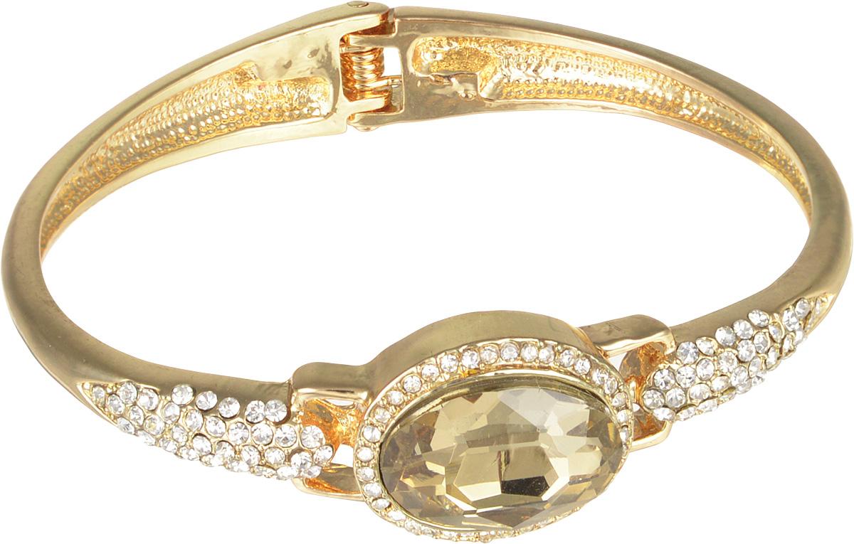 Браслет Taya, цвет: золотистый. T-B-7094Глидерный браслетСтильный женский браслет Taya выполнен из металлического сплава с покрытием под золото. Изделие украшено ограненым камнем из стекла и россыпью страз. Застегивается на пружинный замок.Такой оригинальный браслет не оставит равнодушной ни одну любительницу изысканных и необычных украшений, а также позволит с легкостью воплотить самую смелую фантазию и создать собственный, неповторимый образ.