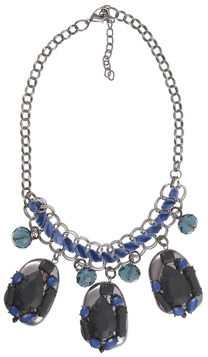 Колье Taya, цвет: стальной, черный, синий. T-B-7556Ожерелье (короткие многоярусные бусы)Стильное колье Taya изготовлено из ювелирного сплава на основе латуни.Основой украшения является цепь стального оттенка с якорным плетением. Центральная часть представляет собой сплетение двух цепей посредством шнурка с бархатистой поверхностью. К центральной части присоединены подвески в виде многогранных камней и подвески неправильной формы с различными декоративными элементами на поверхности. Длина колье регулируется. Очаровательное колье модного дизайна поможет создать уникальный и запоминающийся образ.