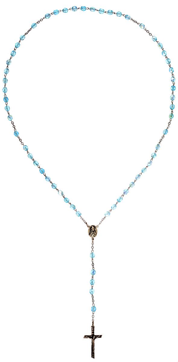 Винтажный католический розарий Небесный свет. Металл серебряного тона, художественное стекло голубого цвета. Италия, 1970-е годыБрошь-кулонВинтажный католический розарий Небесный свет. Металл серебряного тона, художественное стекло голубого цвета. Италия, 1970-е годы.Размер креста 1,5 х 3 см. Длина бус 50 см. На внутренней стороне креста стоит клеймо Italy.Сохранность хорошая.
