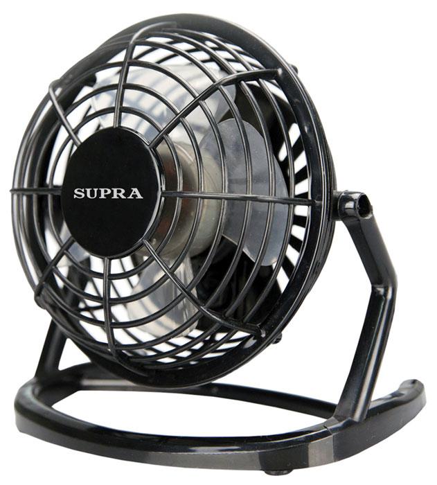 Supra VS-10USB, Black вентиляторVS-10USB blackНастольный USB-вентилятор Supra VS-10USB. Модель занимает немного места и способна создать комфортные условия. Вентилятор имеет наклонное основание, что позволяет направить поток воздуха в нужном направлении. Вращающиеся лопасти скрыты под корпусом, что защищает вас от повреждений при случайном контакте с прибором.