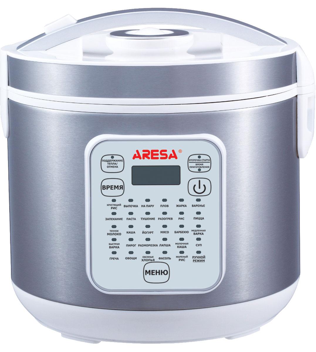Aresa AR-2004 мультиваркаAR-2004Мультиварка Aresa AR-2004 имеет светодиодный LED-дисплей и вместительную чашу объемом 5 литров с керамическим покрытием. Прочный корпус из нержавеющей стали значительно повышает срок эксплуатации прибора. Множество различных функций и режимов приготовления позволит готовить именно те блюда, которые вам нравятся. Регулировка времени приготовления варьируется от 5 минут до 10 часов. В комплект входят полезные аксессуары для приготовления пищи, а книгу рецептов можно бесплатно скачать с сайта производителя.