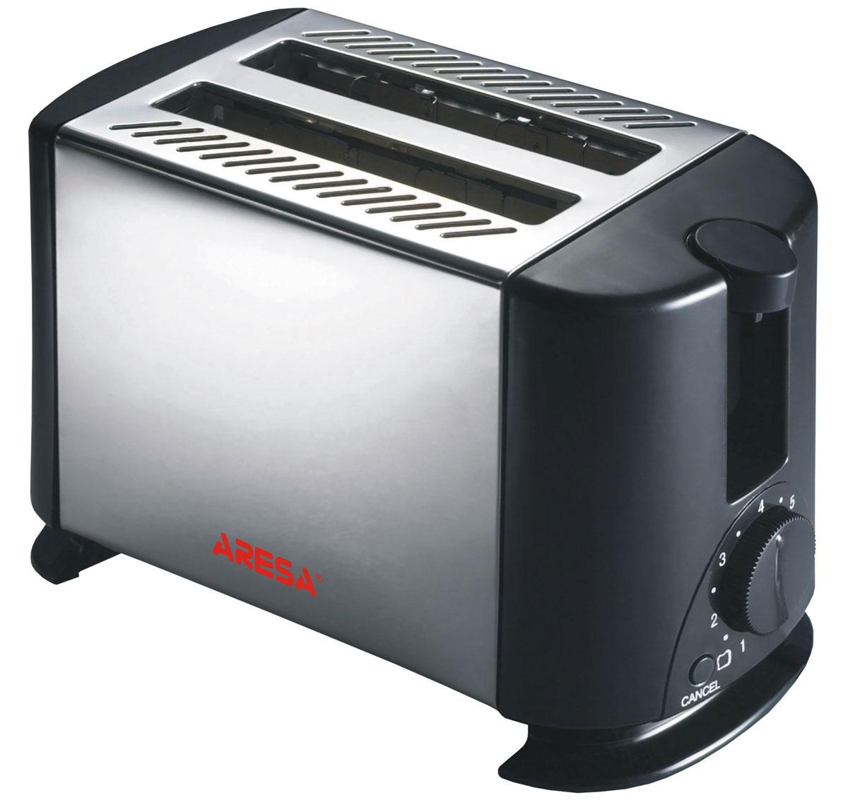 Aresa AR-3002 тостерAR-3002Тостер Aresa AR-3002 имеет надежный и прочный корпус из термостойкого пластика и нержавеющей стали. Вы можете регулировать степень поджаривания хлеба (доступно 7 режимов) по вашему вкусу. Прибор также имеет функцию отмены и экстренного поднятия тостов. Съемный поддон для крошек и отсек для хранения шнура обеспечит комфортное и безопасное использование прибора.