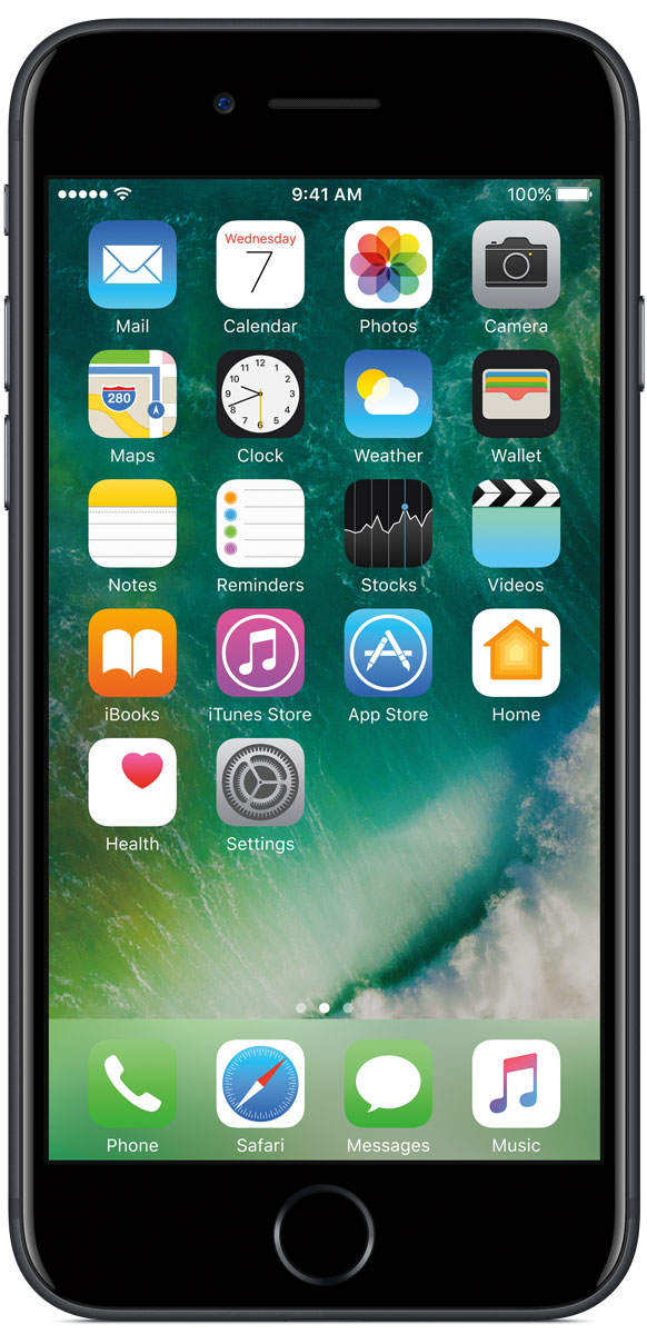 Apple iPhone 7 32GB, BlackMN8X2RU/AiPhone 7 оснащен великолепной камерой, которая позволяет делать невероятные снимки. Этот телефон обладает высокой производительностью и самым долговечным аккумулятором среди всех моделей iPhone, великолепными стереодинамиками, системой широкой цветопередачи от камеры на экран. Для iPhone 7 доступны два новых великолепных цвета корпуса, а также обеспечивается защита от воды и пыли.В iPhone 7 встроена самая популярная в мире камера. Благодаря совершенно новым функциям она стала ещё лучше. 12-мегапиксельная камера в iPhone 7 оснащена системой оптической стабилизации изображения, обладает высокой светосилой f/1.8 и 6-элементным объективом для съёмки ярких фотографий и видео с высоким разрешением. Расширенный цветовой диапазон позволяет фиксировать яркие цвета во всех деталях.Другие усовершенствования камерыНовый процессор обработки сигнала изображения, созданный Apple, выполняет более 100 миллиардов операций на одной фотографии всего за 25 миллисекунд. Это обеспечивает невероятное качество снимков и видео. Новая 7-мегапиксельная камера FaceTime HD обладает более широкой цветопередачей, передовой технологией пикселей и системой автоматической стабилизации изображения для съёмки отличных селфи. Новая вспышка True Tone Quad-LED на 50% ярче, чем в iPhone 6s. Она оснащена передовой матрицей, которая распознаёт и сглаживает блики на видеозаписях и фотографиях.Работает дольше и эффективнееРаботу всех этих инноваций обеспечивает новый процессор A10 Fusion, специально созданный Apple. Новая архитектура делает его самым мощным процессором в истории смартфонов. При этом он обеспечивает более долгую работу без подзарядки, чем у любой другой модели iPhone. Процессор A10 Fusion выполнен по 4-ядерной технологии: в нём объединены два высокомощных ядра, работающих почти вдвое быстрее, чем iPhone 6, и два высокоэффективных ядра, которые способны потреблять в 5 раз меньше энергии, чем высокомощные ядра. Скорость обработки графики также возросла: теперь о