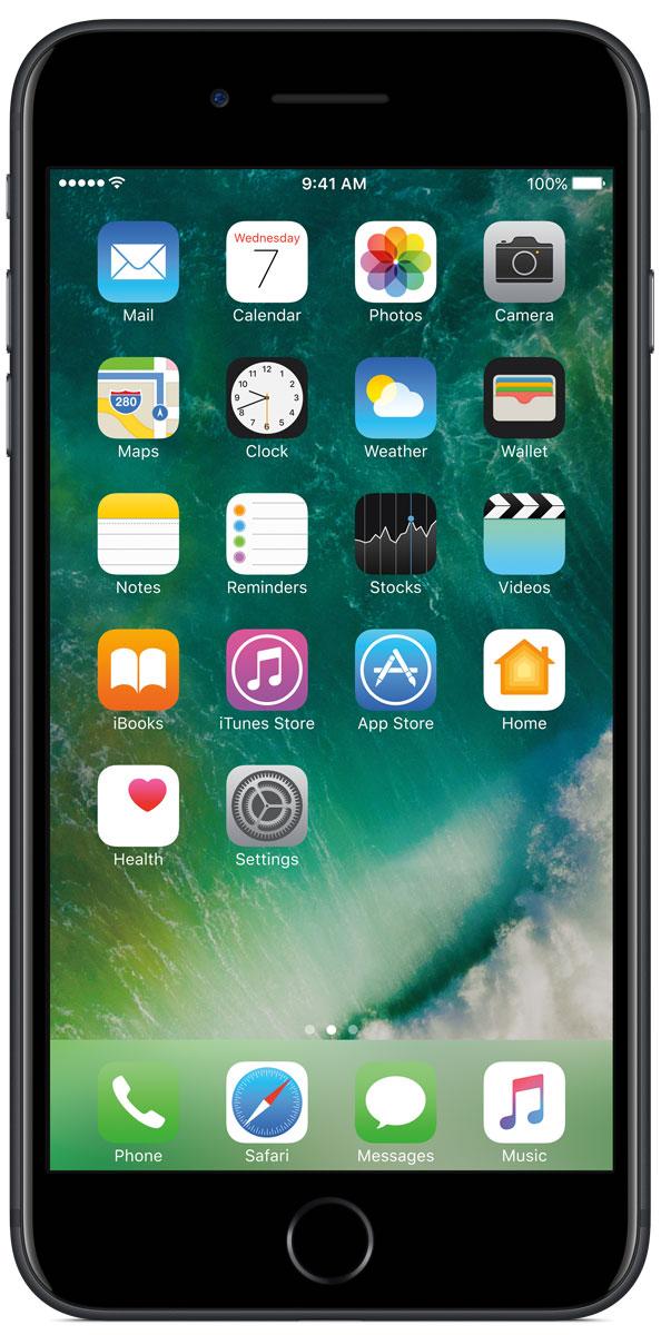 Apple iPhone 7 Plus 32GB, BlackMNQM2RU/AiPhone 7 Plus оснащен великолепными камерами, которые позволяют делать невероятные снимки. Этот телефон обладает высокой производительностью и самым долговечным аккумулятором среди всех моделей iPhone, великолепными стереодинамиками, системой широкой цветопередачи от камеры на экран. Для iPhone 7 доступны два новых великолепных цвета корпуса, а также обеспечивается защита от воды и пыли. В iPhone 7 Plus встроена самая популярная в мире камера. Благодаря совершенно новым функциям она стала ещё лучше. 12-мегапиксельная камера в iPhone 7 оснащена системой оптической стабилизации изображения, обладает высокой светосилой f/1.8 и 6-элементным объективом для съёмки ярких фотографий и видео с высоким разрешением. Расширенный цветовой диапазон позволяет фиксировать яркие цвета во всех деталях. Позже в этом году обе 12-мегапиксельные камеры в iPhone 7 Plus станут поддерживать новый эффект глубины резкости при съёмке фотографий: сложная технология с системой машинного обучения будет отделять фон от переднего плана. Это позволит снимать великолепные портреты, которые прежде были доступны только пользователям зеркальных фотокамер.Другие усовершенствования камеры Новый процессор обработки сигнала изображения, созданный Apple, выполняет более 100 миллиардов операций на одной фотографии всего за 25 миллисекунд. Это обеспечивает невероятное качество снимков и видео. Новая 7-мегапиксельная камера FaceTime HD обладает более широкой цветопередачей, передовой технологией пикселей и системой автоматической стабилизации изображения для съёмки отличных селфи. Новая вспышка True Tone Quad-LED на 50% ярче, чем в iPhone 6s. Она оснащена передовой матрицей, которая распознаёт и сглаживает блики на видеозаписях и фотографиях.Работает дольше и эффективнее Работу всех этих инноваций обеспечивает новый процессор A10 Fusion, специально созданный Apple. Новая архитектура делает его самым мощным процессором в истории смартфонов. При этом он обеспечивает более д