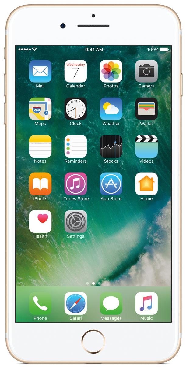 Apple iPhone 7 Plus 128GB, GoldMN4Q2RU/AiPhone 7 Plus оснащен великолепными камерами, которые позволяют делать невероятные снимки. Этот телефон обладает высокой производительностью и самым долговечным аккумулятором среди всех моделей iPhone, великолепными стереодинамиками, системой широкой цветопередачи от камеры на экран. Для iPhone 7 доступны два новых великолепных цвета корпуса, а также обеспечивается защита от воды и пыли. В iPhone 7 Plus встроена самая популярная в мире камера. Благодаря совершенно новым функциям она стала ещё лучше. 12-мегапиксельная камера в iPhone 7 оснащена системой оптической стабилизации изображения, обладает высокой светосилой f/1.8 и 6-элементным объективом для съёмки ярких фотографий и видео с высоким разрешением. Расширенный цветовой диапазон позволяет фиксировать яркие цвета во всех деталях. Позже в этом году обе 12-мегапиксельные камеры в iPhone 7 Plus станут поддерживать новый эффект глубины резкости при съёмке фотографий: сложная технология с системой машинного обучения будет отделять фон от переднего плана. Это позволит снимать великолепные портреты, которые прежде были доступны только пользователям зеркальных фотокамер.Другие усовершенствования камеры Новый процессор обработки сигнала изображения, созданный Apple, выполняет более 100 миллиардов операций на одной фотографии всего за 25 миллисекунд. Это обеспечивает невероятное качество снимков и видео. Новая 7-мегапиксельная камера FaceTime HD обладает более широкой цветопередачей, передовой технологией пикселей и системой автоматической стабилизации изображения для съёмки отличных селфи. Новая вспышка True Tone Quad-LED на 50% ярче, чем в iPhone 6s. Она оснащена передовой матрицей, которая распознаёт и сглаживает блики на видеозаписях и фотографиях.Работает дольше и эффективнее Работу всех этих инноваций обеспечивает новый процессор A10 Fusion, специально созданный Apple. Новая архитектура делает его самым мощным процессором в истории смартфонов. При этом он обеспечивает более д