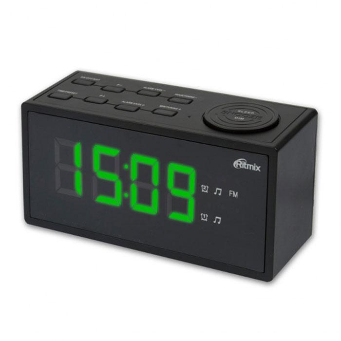 Ritmix RRC-1212, Black радиобудильникRRC-1212 BLACKRitmix RRC-1212 - это компактные FM-радиочасы с функцией будильника. Встроенный дисплей имеет большие яркие цифры высотой 3 см. Модель удобна и проста в управлении и имеет множество полезных функций: несколько будильников с возможностью повтора, таймер выключения, настройка 20 радиостанций и регулировка подсветки.Длина кабеля: 1,4 м