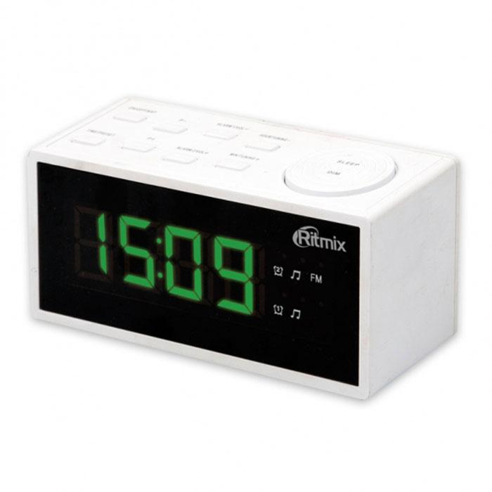 Ritmix RRC-1212, White радиобудильникRRC-1212 WHITERitmix RRC-1212 - это компактные FM-радиочасы с функцией будильника. Встроенный дисплей имеет большие яркие цифры высотой 3 см. Модель удобна и проста в управлении и имеет множество полезных функций: несколько будильников с возможностью повтора, таймер выключения, настройка 20 радиостанций и регулировка подсветки.Длина кабеля: 1,4 м