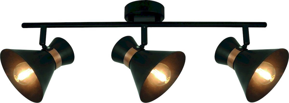 Светильник потолочный Arte Lamp Baltimore. A1406PL-3BKA1406PL-3BKПотолочный светильник Arte Lamp Baltimore поможет создать в вашем доме атмосферу уюта и комфорта. Благодаря высококачественным материалам он практичен в использовании и отлично работает на протяжении долгого периода времени. Оригинальный светильник с тремя металлическими поворотными плафонами на одной планке. Плафоны черного цвета с золотистыми ободками. Длина: 44 см. Высота: 24 см. Ширина: 10 см. Поворотные вверх-вниз, влево-вправо плафоны. Лампы: Е14; 3x40 W. Тип крепления: монтажная планка на шурупах.