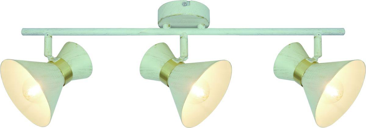 Светильник потолочный Arte Lamp Baltimore. A1406PL-3WGA1406PL-3WGПотолочный светильник Arte Lamp Baltimore поможет создать в вашем доме атмосферу уюта и комфорта. Благодаря высококачественным материалам он практичен в использовании и отлично работает на протяжении долгого периода времени. Оригинальный светильник с тремя металлическими поворотными плафонами на одной планке. Светлые плафоны с золотистыми ободками. Длина: 44 см. Высота: 24 см. Ширина: 10 см. Поворотные вверх-вниз, влево-вправо плафоны. Лампы: Е14; 3x40 W. Тип крепления: монтажная планка на шурупах.