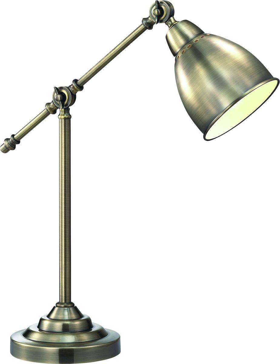 Светильник настольный Arte Lamp Braccio. A2054LT-1ABA2054LT-1ABСветильник Arte Lamp Braccio поможет создать в вашем доме атмосферу уюта и комфорта. Благодаря высококачественным материалам он практичен в использовании и отлично работает на протяжении долгого периода времени. Цоколь Е27, 1 шт, 60 Ватт. Высота светильника: 520 см.Плафон и дуга ножки с фиксацией, поворотные.