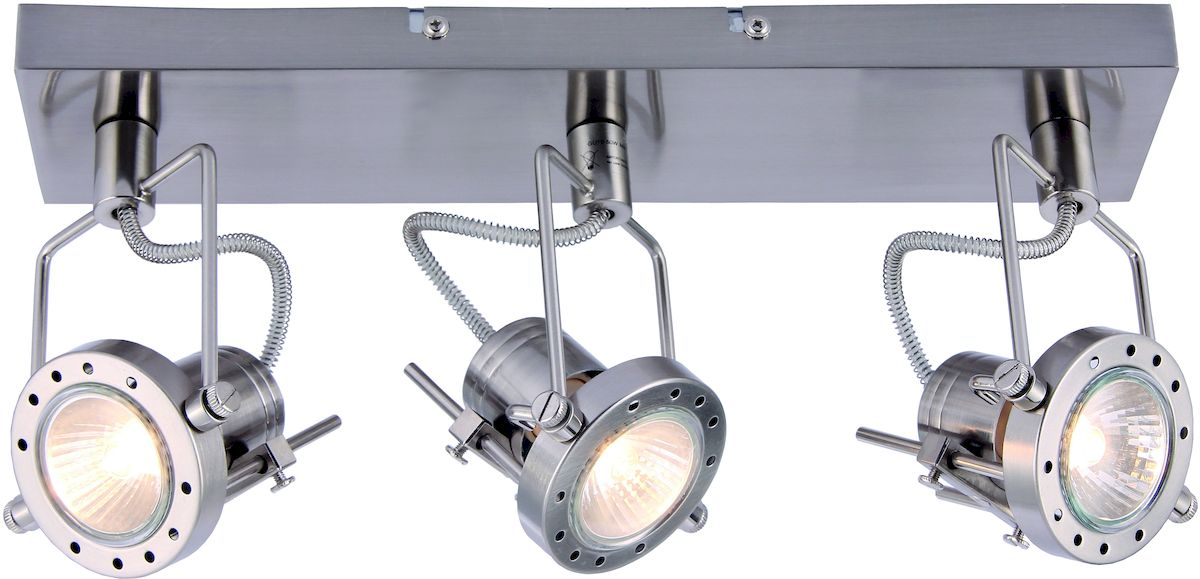 Светильник потолочный Arte Lamp Costruttore. A4300PL-3SSA4300PL-3SSПотолочный светильник Arte Lamp Costruttore поможет создать в вашем доме атмосферу уюта и комфорта. Благодаря высококачественным материалам он практичен в использовании и отлично работает на протяжении долгого периода времени. Оригинальный светильник в стиле хай-тек с тремя поворотными плафонами на одной планке.Лампы: GU10; 3x50 W. Поворотные плафоны и ножки. Тип крепления: монтажная планка на шурупах.