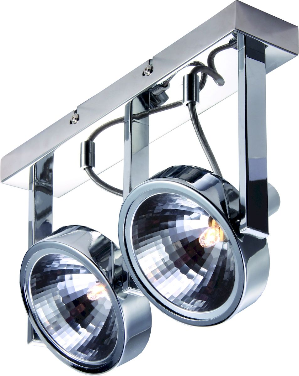 Светильник потолочный Arte Lamp Faccia. A4507PL-2CCA4507PL-2CCПотолочный светильник Arte Lamp Faccia поможет создать в вашем доме атмосферу уюта и комфорта. Благодаря высококачественным материалам он практичен в использовании и отлично работает на протяжении долгого периода времени. Оригинальный спот в стиле хай-тек с двумя поворотными лампами.Лампы: G9; 2x40 W. Поворотные плафоны и ножки. Тип крепления: монтажная планка на шурупах.