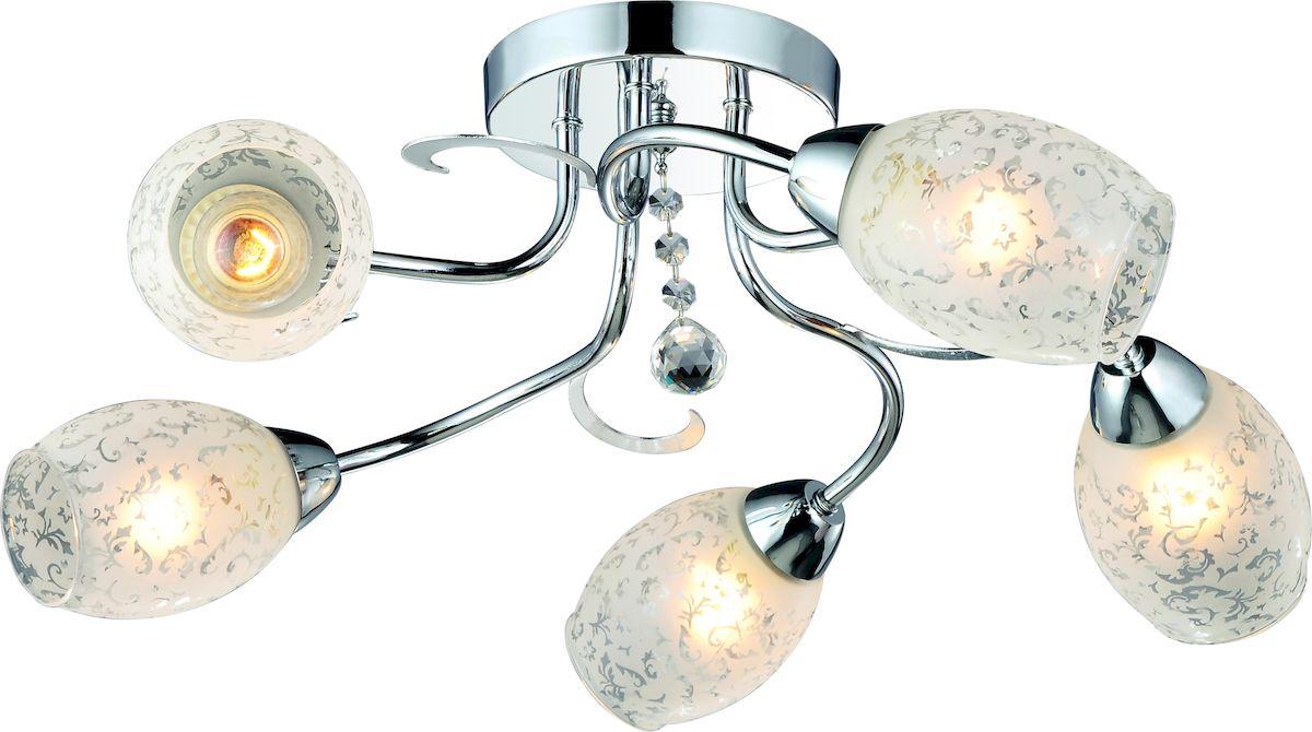 Светильник потолочный Arte Lamp Debora. A6055PL-5CCA6055PL-5CCПотолочный светильник Arte Lamp Debora поможет создать в вашем доме атмосферу уюта и комфорта. Благодаря высококачественным материалам он практичен в использовании и отлично работает на протяжении долгого периода времени.Люстра в стиле модерн с пятью плафонами из матового стекла с рисунком. Плафоны направлены в стороны.Лампы: Е14; 5x60 W.