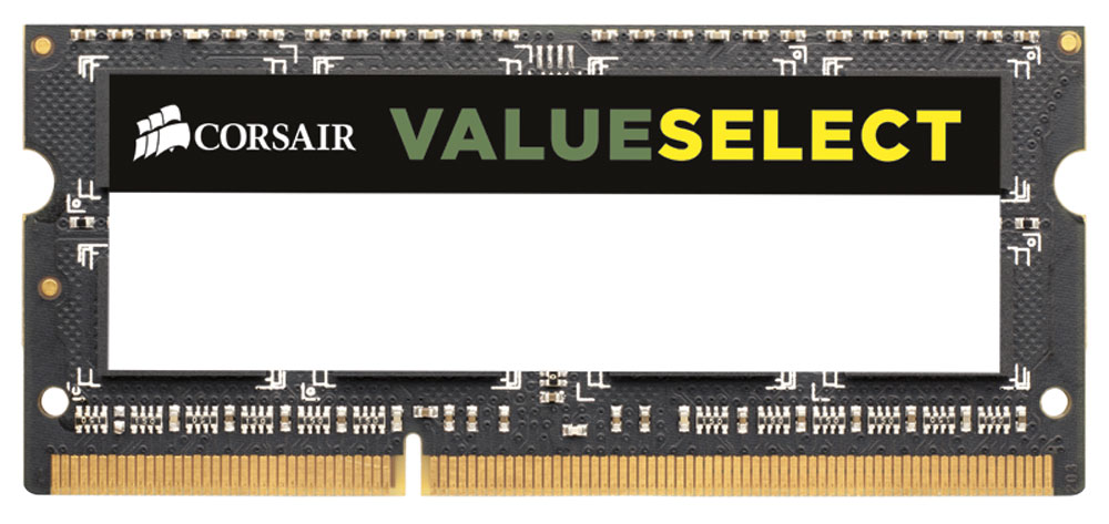 Corsair ValueSelect DDR3 4Gb 1333 МГц модуль оперативной памяти для ноутбука (CMSO4GX3M1A1333C9)CMSO4GX3M1A1333C9Модули памяти Corsair ValueSelect DDR3 SODIMM разработаны для опережения отраслевых стандартов, чтобы гарантировать максимальную совместимость практически со всеми ПК Intel и AMD. Они собраны из лучших компонентов и тщательно проверены для обеспечения стабильной и надежной работы. С помощью комплекта высокопроизводительных модулей Corsair ValueSelect DDR3 SODIMM ваш ноутбук автоматически определит самую высокую частоту, которую поддерживает память для наилучшей работы.