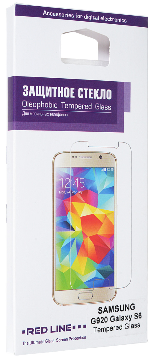 Red Line защитное стекло для Samsung Galaxy S6УТ000006288Защитное стекло Red Line для Samsung Galaxy S6 предназначено для защиты поверхности экрана от царапин, потертостей, отпечатков пальцев и прочих следов механического воздействия. Оно имеет окаймляющую загнутую мембрану, а также олеофобное покрытие. Изделие изготовлено из закаленного стекла высшей категории, с высокой чувствительностью и сцеплением с экраном.