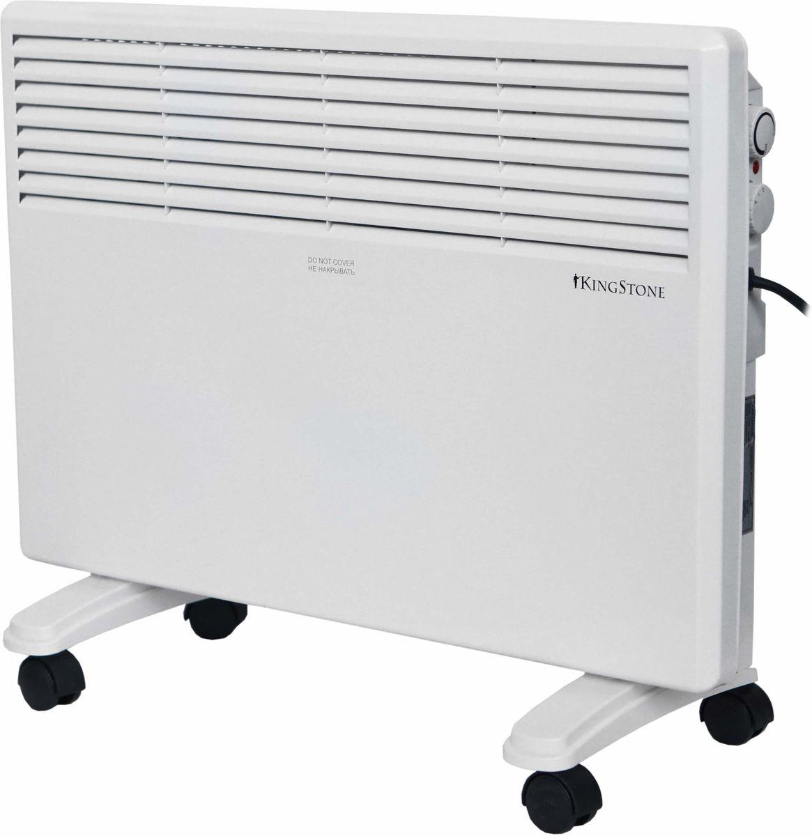 КingStone KH-1500 конвектор электрическийКingStone KH-1500Электрический конвектор КingStone KH-1500 - это современный, надежный, мобильный и экономичный обогреватель. Работа конвектора КingStone KH-1500 основана на принципе естественной конвекции: холодный воздух поступает внутрь обогревателя через отверстие в нижней части и, проходя через нагревательный элемент, уже нагретый воздух выходит через жалюзи, расположенные на передней панели обогревателя.Современный внешний вид позволяет гармонично вписать конвектор в любой интерьер.br>С влагостойким исполнением корпуса прибора IPX4 прибор можно использовать в помещениях с повышенной влажностью и обилием брызгУдобная в эксплуатации, интуитивно понятная панель управления облегчает использование прибора