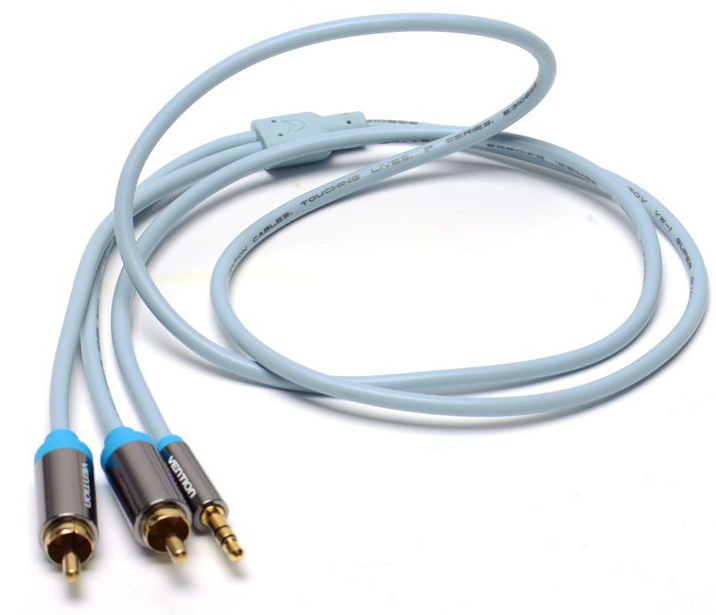Vention P550AC150-S Jack 3,5 mm M/2RCA M, Grey аудиокабель (1,5 м) кабель jack jack vention кабель minijack jack 2 m