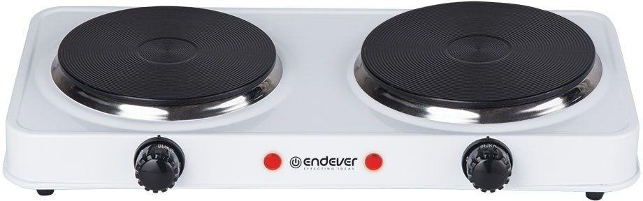 Endever Skyline EP-21, White плитка электрическаяEP-21WEndever Skyline EP-21 - удобная, компактная и незаменимая плитка дома, на даче, а также в офисе. Модель имеет 2 чугунные конфорки мощностью 1000 Вт и 1500 Вт, а также функцию быстрого нагрева. На корпусе присутствуют два индикатора работы. Вы можете изменять температуру нагрева с помощью специального регулятора. Прорезиненные ножки обеспечат устойчивость прибора на поверхностях.