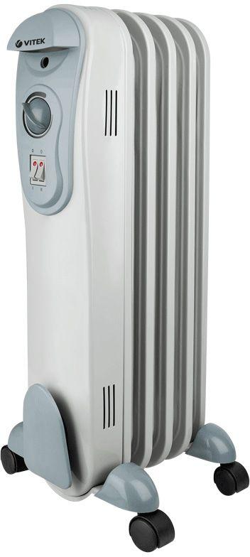 Vitek VT-2120(GY) радиаторVT-2120(GY)Масляный радиатор Vitek VT-2120(GY) имеет классический тип секций и элегантный дизайн. Колесики предназначены для удобного перемещения обогревателя. Радиатор оборудован устройством для намотки сетевого шнура и имеет три ступени мощности нагрева, встроенный регулируемый термостат. Vitek VT-2120(GY) снабжен механизмом защиты от перегрева и замерзания.