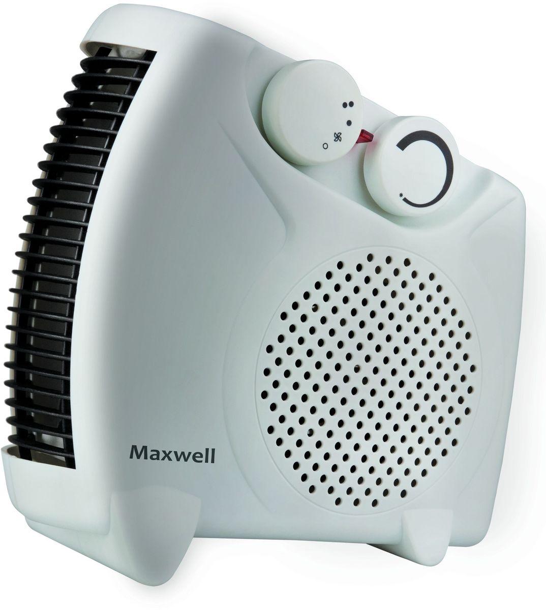 Maxwell MW-3453(W) тепловентиляторMW-3453(W)Тепловентилятор Maxwell MW-3453(W) служит для быстрого прогрева помещения с наименьшими затратами электроэнергии. Принудительно нагнетая горячий воздух, тепловентилятор заставляет его циркулировать, смешиваясь с холодным, благодаря чему прогрев помещения происходит значительно быстрее, чем в случае обычных обогревателей. Тепловентилятор Maxwell MW-3453(W)может работать в режиме обычного вентилятора, а также нагнетать теплый или горячий воздух. Используя разные режимы работы можно добиться установления в помещении устойчивого и комфортного микроклимата. Материал корпуса - термостойкий пластик абсолютно безвреден и соответствует всем стандартам безопасности. 3 режима работыРежим вентилятора без нагрева, режим теплого потока воздуха и режим горячего потока воздуха.