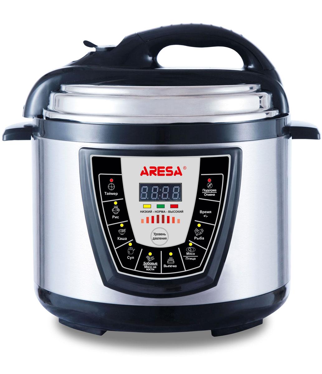 Aresa AR-2003 мультиварка-скороваркаAR-2003Мультиварка Aresa AR-2003 имеет светодиодный LED-дисплей и вместительную чашу объемом 5 литров с керамическим покрытием. Прочный корпус изготовлен из нержавеющей стали. Имеется встроенный датчик контроля температуры и клапан сброса избыточного давления.Множество различных функций и режимов приготовления позволит готовить именно те блюда, которые вам нравятся. Регулировка времени приготовления и функция отложенного старта позволит с большой точностью рассчитывать продолжительность готовки. Доступна установка таймера до 24 часов. В комплект входят полезные аксессуары для приготовления пищи, а книгу рецептов можно бесплатно скачать с сайта производителя.