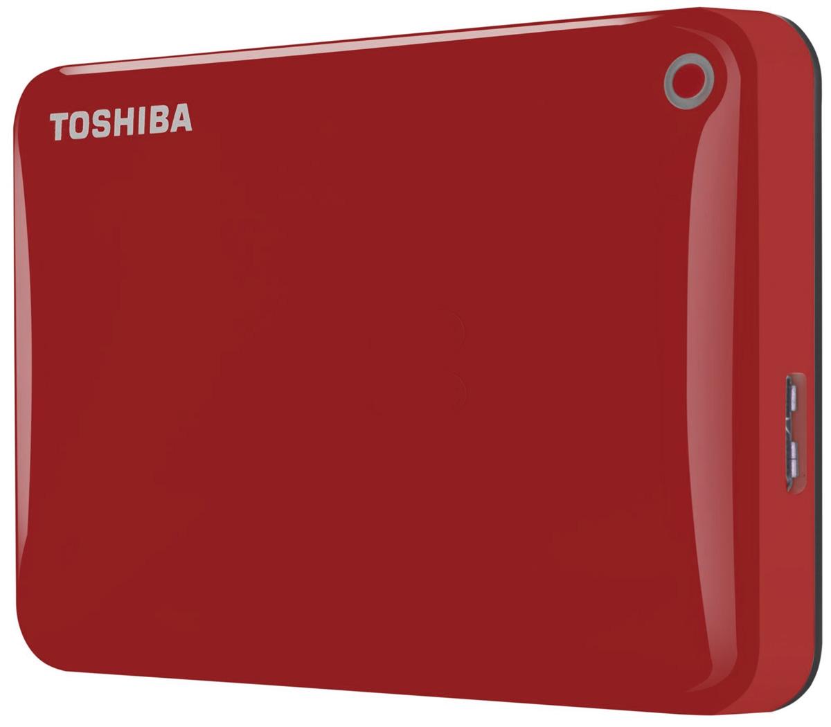 Toshiba Canvio Connect II 500GB, Red внешний жесткий диск (HDTC805ER3AA)HDTC805ER3AAToshiba Canvio Connect II дает вам возможность быстро передавать файлы с интерфейсом USB 3.0 и хранить большое количество данных на внешнем жестком диске. Устройство полностью готово для работы с Microsoft Windows и не требует установки программного обеспечения, так что ничего не может быть удобнее для хранения всех ваших любимых файлов. В офисе или в дороге его классический дизайн будет всегда уместен. Более того, Toshiba Canvio Connect II позволяет подключаться также и к оборудованию с совместимостью USB 2.0.Этот внешний накопитель обеспечивает доступ к вашим файлам практически из любого места и с любого устройства. Toshiba Canvio Connect II может легко превратить ваш компьютер в облачный сервер благодаря предустановленному ПО для удаленного доступа (накопитель должен быть подключен к компьютеру и Wi-Fi). Помимо удаленного доступа это устройство предоставляет своему владельцу 10 ГБ дополнительного места в облачном сервисе. Программное обеспечение NTI Backup Now EZ обеспечивает удобное и надежное создание резервных копий и восстановление всех ваших папок, файлов и операционной системы.Canvio Connect II оборудован датчиком ударов, сигнал которого переводит головку жесткого диска в безопасное положение, за счет чего снижается риск повреждения носителя и потери данных при падении накопителя. Накопитель имеет уже установленный драйвер NTFS для Mac, поэтому вам не придется волноваться из-за типа вашего компьютера - просто подключите Canvio Connect II и получите доступ к вашим файлам.