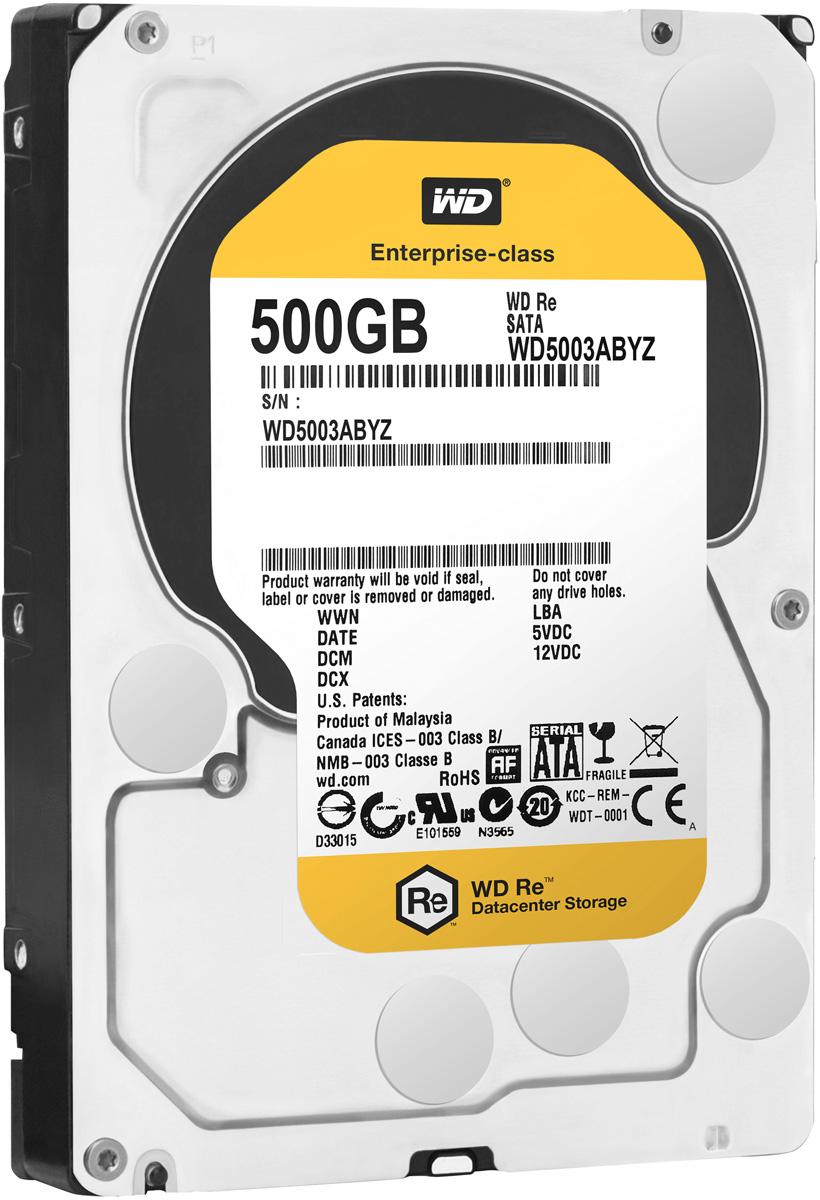 WD Re 500GB внутренний жесткий диск (WD5003ABYZ)WD5003ABYZМодель WD Re, созданная с применением передовых технологий, обеспечивающих стабильно высокую скорость работы в самых различных системах, и обладающая нагрузочной способностью в десять раз выше, чем накопители для настольных ПК - это рабочая лошадка семейства накопителей WD для ЦОД.Накопитель превосходно подходит для дисковых массивов, для которых требуются самые надежные диски. Благодаря своему высокому быстродействию, емкости и надежности модель WD Re превосходно подходит для хранилищ данных, систем добычи данных и высокоскоростных вычислительных систем.Этот накопитель, рассчитанный на обработку до 550 ТБ данных в год, имеет самую высокую нагрузочную способность среди 3,5-дюймовых жестких дисков и может работать быстро и надежно в любых ЦОД.Этот скоростной накопитель с MTBF до 2 млн. часов отличается высочайшей надежностью при круглосуточной работе в самых требовательных системах хранения.Система позиционирования головок с двумя приводами, отличающаяся повышенной точностью размещения блока головок над дорожками диска. Главный привод, работающий по традиционному электромагнитному принципу, перемещает блок головок по приблизительным координатам. Вспомогательный привод, в котором используется пьезомотор, более точно позиционирует головки над дорожкой. Технология RAFF нового поколения предусматривает применение сложных электронных схем для слежения за работой накопителя и одновременной корректировки как линейной, так и угловой вибрации в реальном времени. Это позволяет значительно повысить быстродействие накопителей в условиях сильной вибрации по сравнению с моделями предыдущего поколения.Записывающая головка ни при каких обстоятельствах не соприкасается с поверхностью диска, что способствует значительному уменьшению износа головок и дисков, а также более надежной защите накопителей в процессе их перевозки.