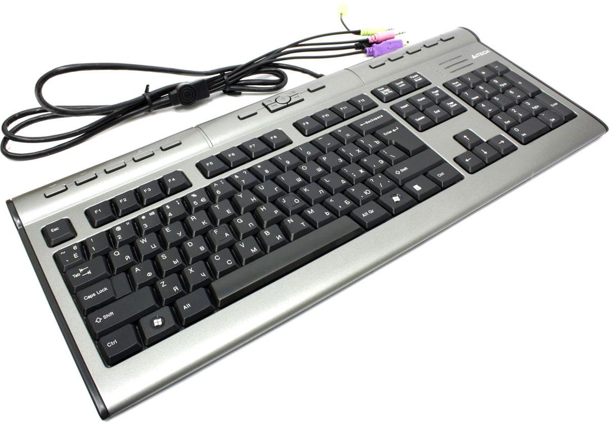 Клавиатура A4Tech KLS-7MUU, Silver Black94395Стильная плоская клавиатура A4Tech KLS-7MU – прекрасное дополнение к современным ЖК-мониторам.Благодаря пирамидальному расположению клавиш достигается правильное положение рук и локтей в процессе печати на клавиатуре. Сочетая элегантную форму и многофункциональность, проводная клавиатура обеспечивает высокую производительность, помогая рационально и экономно использовать рабочее пространство, не жертвуя удобством.Слим-клавиатура имеет 17 горячих клавиш, специальные разъемы для наушников и микрофона, и порт USB 2.0, что значительно облегчает работу со средствами мультимедиа и USB-устройствами.Особенности:Изящная конструкцияПирамидальная раскладка клавиш 17 горячих клавиш Встроенный порт USB 2.0 для внешних устройств (USB-удлинитель) Разъем для наушников и микрофона Тихий ноутбучный ход клавиш