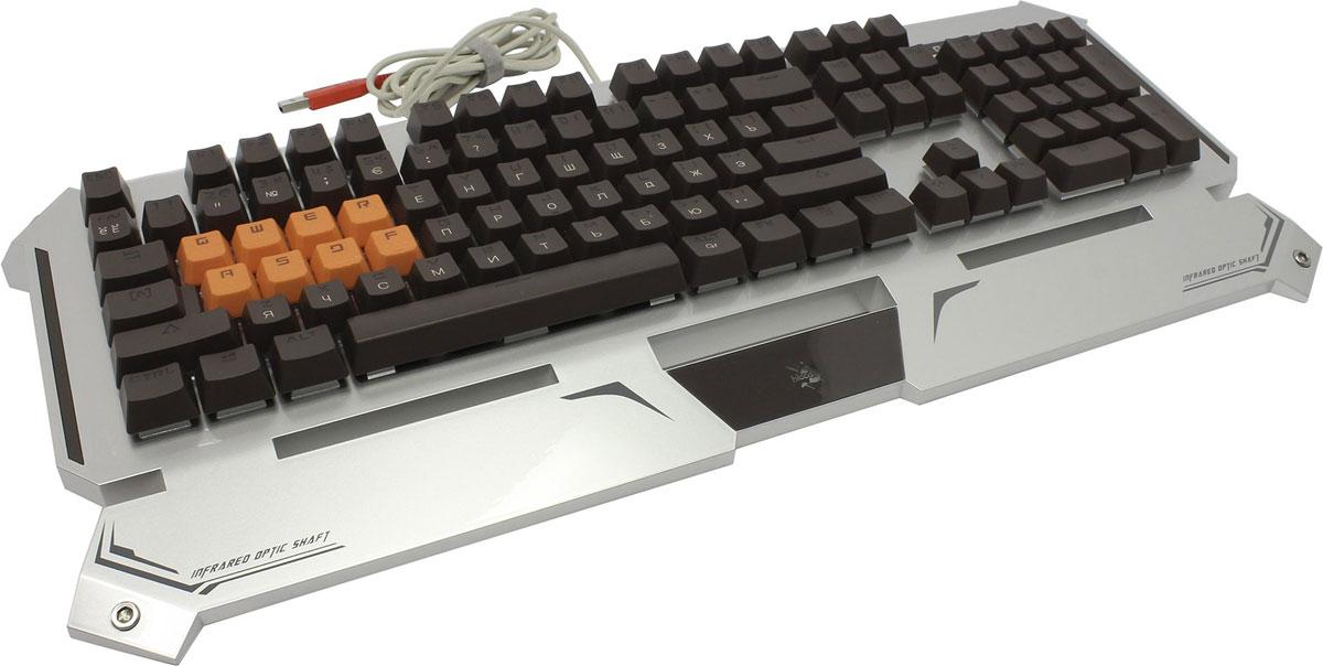 Игровая клавиатура A4Tech Bloody B740A, Silver Black300809Игровая клавиатура A4Tech Bloody B740A с оптическими переключателями идеально подойдет для современных геймеров.Инновационная технология Light Strike использует оптические переключатели, обеспечивающие непревзойденное время отклика до 0.2 мс! При этом отсутствует громкий металлический звук при нажатии.Данная модель имеет ресурс 100 млн. нажатий, а также эффективную защиту от пыли и влаги. Оптические переключатели защищены 6 мм барьером, чтобы предотвратить попадание жидкости.Усиленный пробелДвойные винты + двойные пружины + компенсирующая планка предназначены для большей прочности. Благодаря технологии Dual-color injection клавиши никогда не сотрутся. Нескользящие резиновые ножки предотвращают вибрацию и скольжение клавиатуры во время игры.Игровой режим Gaming ModeНажатие Fn + F8 деактивирует кнопки Windows для предотвращения случайного вылета из игровой сессии.Парящие клавиши с эргономичным расположением подарят чувство комфорта при взаимодействии.Нескользящие резиновые ножки предотвращают вибрацию и скольжение клавиатуры во время игры.